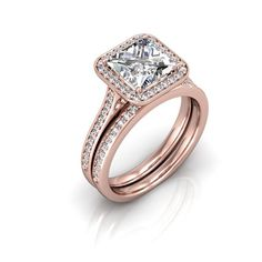 Rose Gold Engagement Ring and Wedding Band 2 by GerryTheJeweler