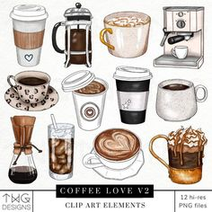 Coffee Icon, Coffee Love, Coffee Theme, Coffee Art, Espresso Cafe, 2 Clipart, Iced Latte, Blog Design, Planner Stickers