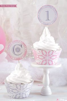 Winter ONEderland Cupcake Toppers & Wrappers Printable Pink & Silver first birthday party. party printables, baby shower, pink snowflakes, Chritsmas birthday, Christmas cupcakes, party supplies #onederland #1stbirthday