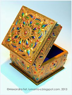 hand painted jewelry box by Alexandra Fet Mandala Art, Mandala Painting, Wood Box Design, Painted Jewelry Boxes, Paint Drop, Vbs Crafts, Fabric Boxes, Dot Art Painting, Antique Boxes