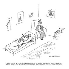 """size: Premium Giclee Print: """"And when did you first realize you weren't like other precipitation?"""" - New Yorker Cartoon by Michael Maslin : New Yorker Cartoons, Cartoon Posters, Cartoon Pics, Cartoon Art, Funny Jokes For Adults, Funny Relatable Memes, Find Art, Framed Artwork, Oil On Canvas"""