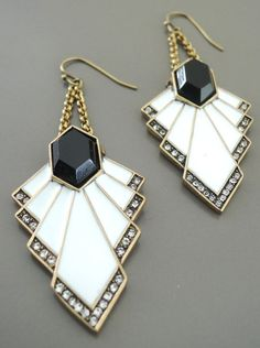 Art Deco Earrings - White and Black Enamel Earrings - Crystal Earrings - Upcycle Earrings - Chain Earrings - Antique Gold - handmade