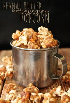 Vegan Peanut Butter Butterfingers Popcorn using Go Max Go bars, brown sugar, and brown rice syrup Vegan Treats, Vegan Snacks, Vegan Desserts, Delicious Desserts, Yummy Food, Popcorn Recipes, Snack Recipes, Dessert Recipes, Cooking Recipes
