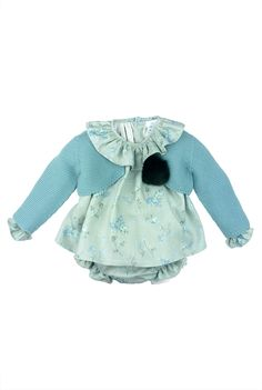 Paloma de la O floral print blouse and bloomer with knit cardigan #fashionkids #babyfashion