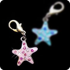 PURELY CHARMING Enameled Pet Charm/Pendant with Handset Swarovski Crystals - Sea Star (Pink) >> You will love this! More info here : Cat accessories