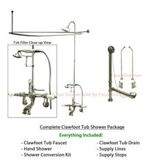 Clawfoot Tub Shower Enclosure Combo w/ Faucet Option | Our Dream ...