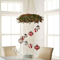 DIY Shatterproof Ornament Wreath Chandelier