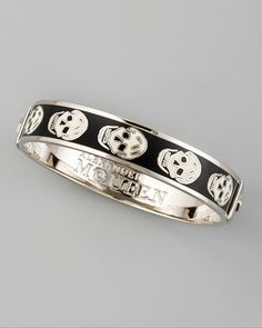 Alexander McQueen Small Enamel Skull Bangle, Black/White - Neiman Marcus