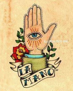 Old School Tattoo Art main LA MANO Loteria par illustratedink