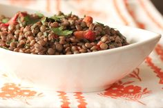 Lentil salad with roasted red peppers, olives and almonds | What Would Cathy Eat? - DailyBuzz Healthy Living