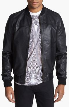 Topman Leather Bomber Jacket available at #Nordstrom