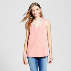 Women's Racerback Tank Top - Mossimo Supply Co. Peach (Pink) Xxl
