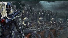Dark Elf / Drow / Battle group and commander The pact is broken kill them spare not one, grind their bones into the stones!  Ordered an enraged Janeth, how dare they be so slow their leaders heart has already grown cold.