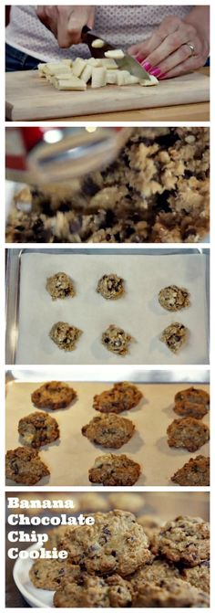 Sliced #banana makes simple #chocolatechipcookies extra special.