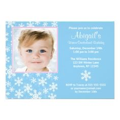 Snowflakes Winter Wonderland Photo Birthday Custom Invitations for a winter wonderland themed girl's 1st birthday party.