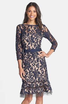 Free shipping and returns on Tadashi Shoji Lace Overlay Dress at Nordstrom.com. Elaborate textured lace bolsters the vintage-inspired silhouette of a belted, bateau-neck dress with sheer sleeves and tulle insets at the hem of its flouncy skirt.