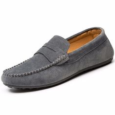 Brand: No    Shoe Type: Flat Shoes Toe Type: Round Toe  Closure Type: Slip On Gender: Male Occasion:  Casual  Season: Spring, Summer,Autumn  Color: Dark  Blue,Black,Gray   Material: Upper Material:   Suede     Outsole Material: Rubber   Package included:  1*pair of shoes(without box)