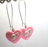 Barbie Silhouette Dangle Earrings Pink Heart Cameo
