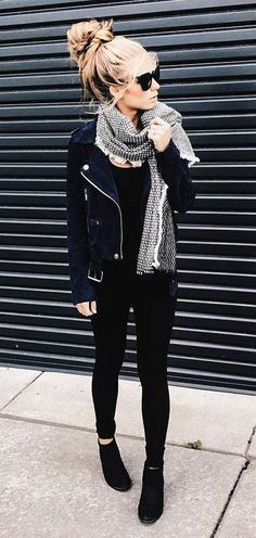 Love the black moto jacket, tee, skinnies, and shoes with a little color from the scarf.