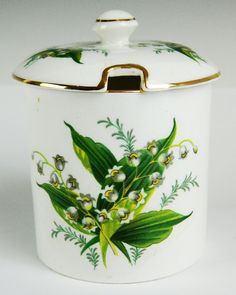 VINTAGE HAMMERSLEY FINE BONE CHINA JAM CONDIMENT JAR LILY OF THE VALLEY HARRODS | eBay