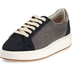 Brunello Cucinelli Monili Lace-Up Low-Top Sneaker (2,305 CAD) ❤ liked on Polyvore featuring shoes, sneakers, navy, lace up sneakers, low top, navy blue sneakers, low profile sneakers and leather lace up shoes