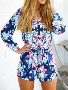 Blue Floral Sweetheart Long Sleeve Tie Waist Romper Playsuit   Choies