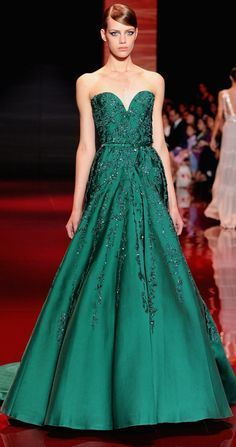 Emerald gown for Elie Saab Haute Couture Fall 2013.