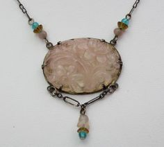 Antique Chinese Art Deco Rose Quartz & Sterling Silver Necklace Quality Carving