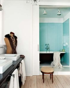 30 extraordinary Luxury Blue Bathroom Design Ideas - Page 12 of 45 Glass Bathtub, Blue Bathrooms Designs, Blue Rooms, Design Ideas, Interior Design, Bedroom, Luxury, Storage, Furniture
