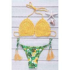 Endearing Sunflower Print Halter Crochet Bikini Suit For Women #shoes, #jewelry, #women, #men, #hats, #watches, #belts