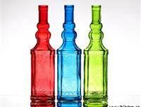 Red, Blue, Green glass bottles