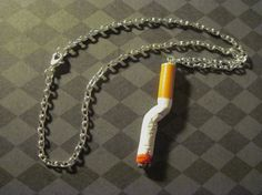 Cigarette Smoke Necklace Glam Punk Rock Star Goth Silver by Jynxx, $15.00