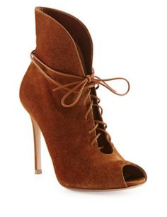 GIANVITO ROSSI Suede Lace-Up Bootie