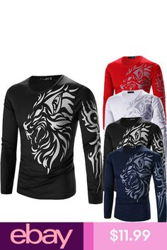 New Fashion Men's Blouse Casual Slim Fit Crew-neck Long Sleeve Tops Tee T-shirt Gents Kurta Design, Mens Knit Sweater, Stylish Shirts, Kurta Designs, Printed Shirts, Hooded Sweatshirts, Colorful Shirts, Long Sleeve Tops, Shirt Designs
