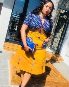 Umbhaco & Shweshwe Inspired Dress For Heritage Day Xhosa Attire, African Attire, African Wear, African Dress, African Fashion Skirts, African Print Fashion, African Prints, South African Traditional Dresses, Traditional Fashion