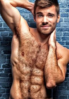 Nude blonde men with hairy chests