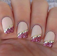 @badgirlnails Glitter Tips with buttons