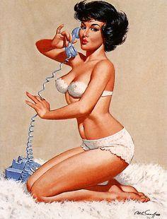 Arthur Sarnoff - Talking on the Phone Pin Up. Made me laugh. :)
