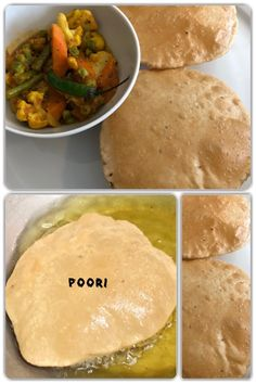 Poori is an unleavened deep-fried bread, originating from the Indian subcontinent. It is usually served with a savory curry or bhaji, as in Poori bhaji, but may also be eaten with sweet dishes. Vegan Food, Vegan Recipes, Homemade Recipe, Breads, Curry, Tasty, Lunch, Deep, Indian