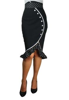 !            !           1 Plus Size Pin Up Clothing Skirts: Pencil Plus Size Pin Up Skirt