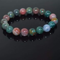 FBT - Indian Agate Multicolor Beaded Men's /Unisex Bracelets - 7.5 / Green