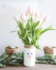 DIY Easter Bunny Mason Jar Vase