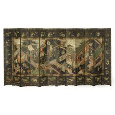 A CHINESE EXPORT POLYCHROME COROMANDEL LACQUER TWELVE-PANEL SCREEN QING DYNASTY, 18TH/19TH CENTURY