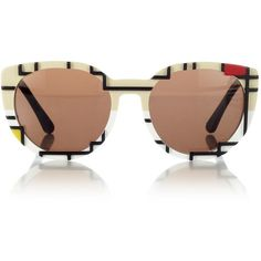 Cutler and Gross Mondrian Cat Eye Sunglasses (1.540 BRL) ❤ liked on Polyvore featuring accessories, eyewear, sunglasses, glasses, print, retro sunglasses, retro glasses, cutler and gross sunglasses, retro cat eye sunglasses and cat eye sunglasses
