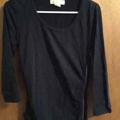 Michael Kors black long sleeve shirt Black Michael kors shirt with zipper on the side. Very flattering. Michael Kors Tops Tees - Long Sleeve