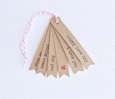Kraft brown Valentines tags. Kraft brown flag tags. Valentines party favor treat tags