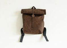Minimal leather rolltop backpack, made by LINKT