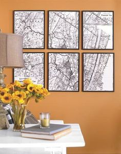 Six vintage maps, framed, create instant wall art.