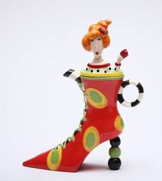 Appletree Design-Dolly Mama's Colorful Whimsical Afternoon Tea Lady Shoe Teapot