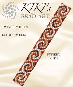 This is an own designed pattern in PDF format, downloadable directly from ETSY.  This pattern is for the twisted whirls LOOM bracelet , which is created using Japanese delica beads. The pdf file includes:  1. a large picture of the pattern 2. a large, detailed graph of the pattern, 3. a bead legend with the colour numbers and count of the delica beads for the suggested length 4. a word chart of the pattern.  Please note that my patterns do not include instructions for how to do the LOOM…